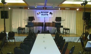 A typical stage for a corporate event